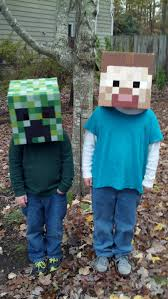 video halloween party my kids u0027 halloween costumes creeper and steve from minecraft