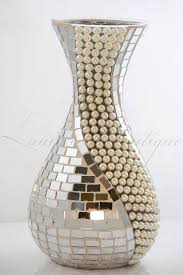 Mosiac Vase Stunning Silver Mirror Mosaic Vase With White Or Cream Pearls Bnib