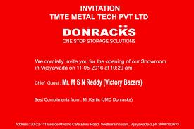 Showroom Invitation Card New Showroom At Vijayawada Donracks