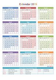 2019 calendar with holidays week numbers pdf image calendar