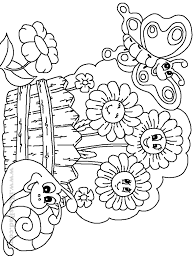 beautiful garden in summer coloring page and coloring page