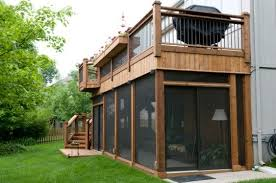 Enclosed Porch Plans Second Floor Deck With Screened In Porch Designs Back Deck Area