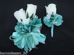 boutonniere flower wedding prom auqa mint green flower wrist corsage or w