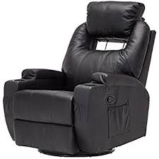 Leather Chair And A Half Recliner Amazon Com Homcom Massage Heated Pu Leather 360 Degree Swivel