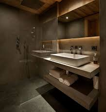 bathrooms are plastered in marmorino with white floating sink