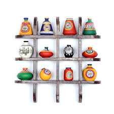 Wall Shelves Pepperfry Exclusivelane 12 Terracotta Pots With Wooden Frame Wall Hangings