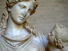 detail of statue of eirene greek goddess of peace roman copy of