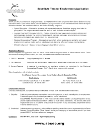 Resume For Teachers Job Application by Best Resume For Substitute Teaching With Employment Application