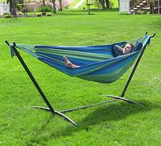 sunnydaze 9 ft steel hammock stand with double brazilian hammock
