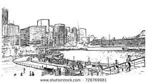 watercolor sketch sydney harbour bridge australia stock vector