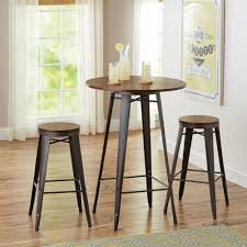 kitchen table round 3 piece set metal wrought iron 4 seats