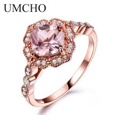 rose color rings images Umcho silver 925 nano morganite rings for women engagement party jpg