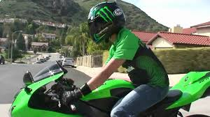 kawasaki all green kawasaki ninja zx6r rider on the street monster energy