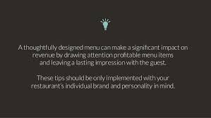 8 tips for effective menu design