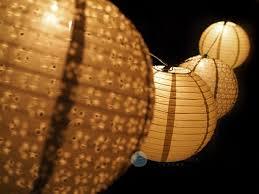 White Paper Lantern String Lights by Christmas Holiday Gold Eyelet Paper Lantern String Light Combo Kit