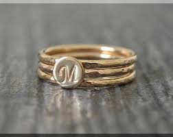 Monogram Gold Ring 3 Initial Ring Etsy