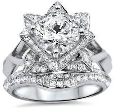 lotus flower engagement ring lotus flower diamond engagement ring bridal set 14k white gold