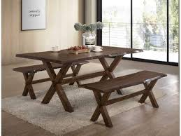 Rustic Bench Dining Table Sherwood Rustic Bench Dining Set My Furniture Place