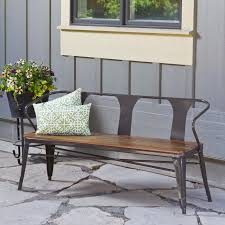 a wood slat seat and metal frame give this sturdy bench a stylish
