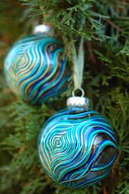 maryelizabetharts peacock feather glass ornaments