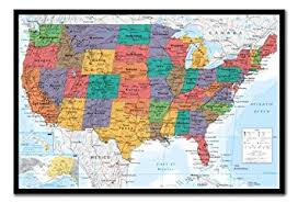 map usa framed usa united states map wall chart poster cork pin memo