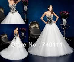 luxury sweetheart black and white wedding dress strapless beaded