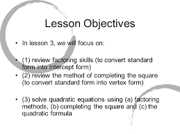 3 lesson objectives in