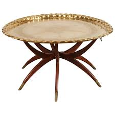 moroccan brass tray table on spider folding stand for sale at 1stdibs