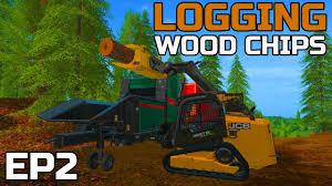 farming simulator 2017 logging hauling wood chips away jcb