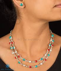 turquoise coloured necklace images Prisha silver turquoise coral pearl necklace office jewellery jpg