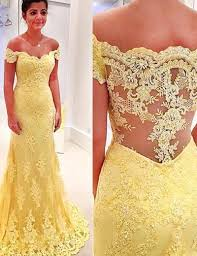 mermaid off the shoulder yellow lace prom dress with appliques