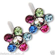 ear piercing studs silver studs ear piercing earrings bright rainbow flower