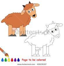 goat colored coloring book preschool stock vector 609226331