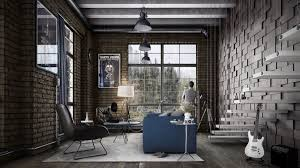 industrial style for living room design apply with concrete brick