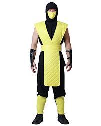 Mortal Kombat Scorpion Halloween Costume Amazon Miccostumes Men U0027s Mortal Kombat Scorpion Cosplay