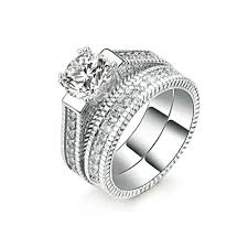 womens wedding ring sets 2pcs womens wedding engagement bands ring sets 18k white gold