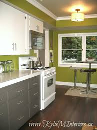 old laminate kitchen cabinets painted with benjamin moore cloud white amherst gray dark fir stained wood floor and forest moss by benjamin moore paint