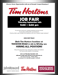 Resume For Tim Hortons Job by Tim Horton U0027s Job Fair Two Locations Are Hiring Join Us At John