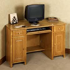 curved light brown varnished teak wood desk for home office having