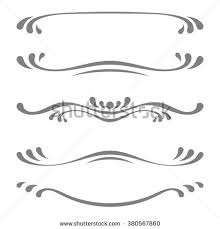 collection vector calligraphic lines ornaments dividers stock
