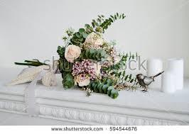wedding flowers eucalyptus beautiful flower wedding bouquet white roses stock photo 594544676