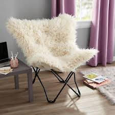 Ivory Chair Fur Butterfly Chair Ivory Dorm Kids Room Game Room Ebay