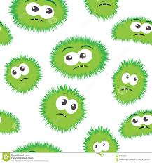 green repeating halloween background seamless pattern bacteria with monster face vector background