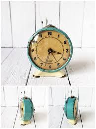 aqua blue shabby chic soviet vintage alarm clock jantar from ussr