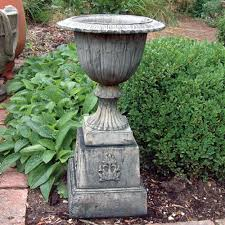 modena 30 stone vase plant pot on plinth large garden planter buy