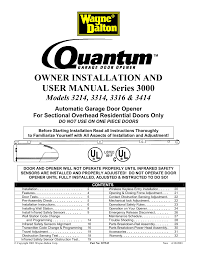 Overhead Garage Door Opener Manual by Quantum 3316 User Manual 32 Pages Also For 3314 3214 3414