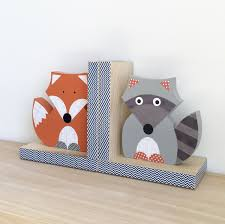 forest animal bookends fox and raccoon bookends woodland nursery