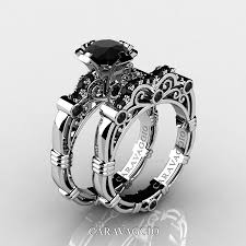 black wedding band sets masters caravaggio 14k white gold 1 0 ct black diamond