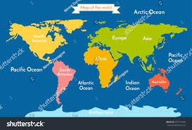 Vector World Map World Map Vector Illustration Inscription Oceans Stock Vector