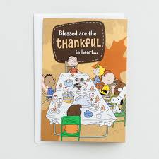 peanuts thanksgiving blessed are the thankful in 3